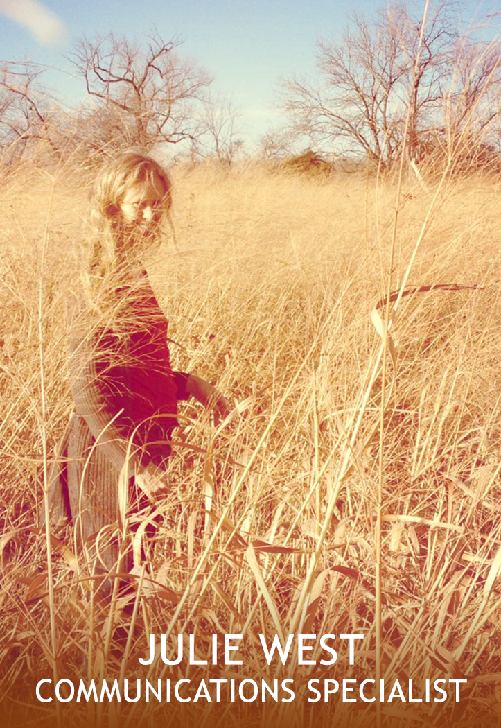 Portrait shows a blonde woman standing in blonde-colored, wild grasses.