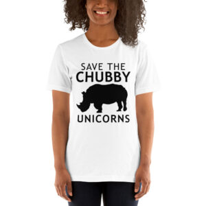 "A young black woman wears a T-shirt with an image of a silhouetted rhino that says ""Save the Chubby Unicorns."""