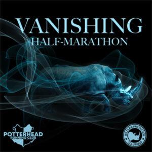 """Graphic shows """"Vanishing Half-Marathon"""" text with photo of vanishing rhino in mist."""
