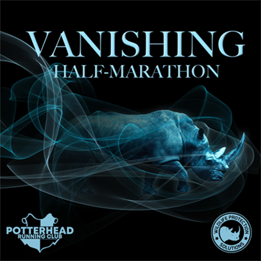 "Graphic shows ""Vanishing Half-Marathon"" text with photo of vanishing rhino in mist."